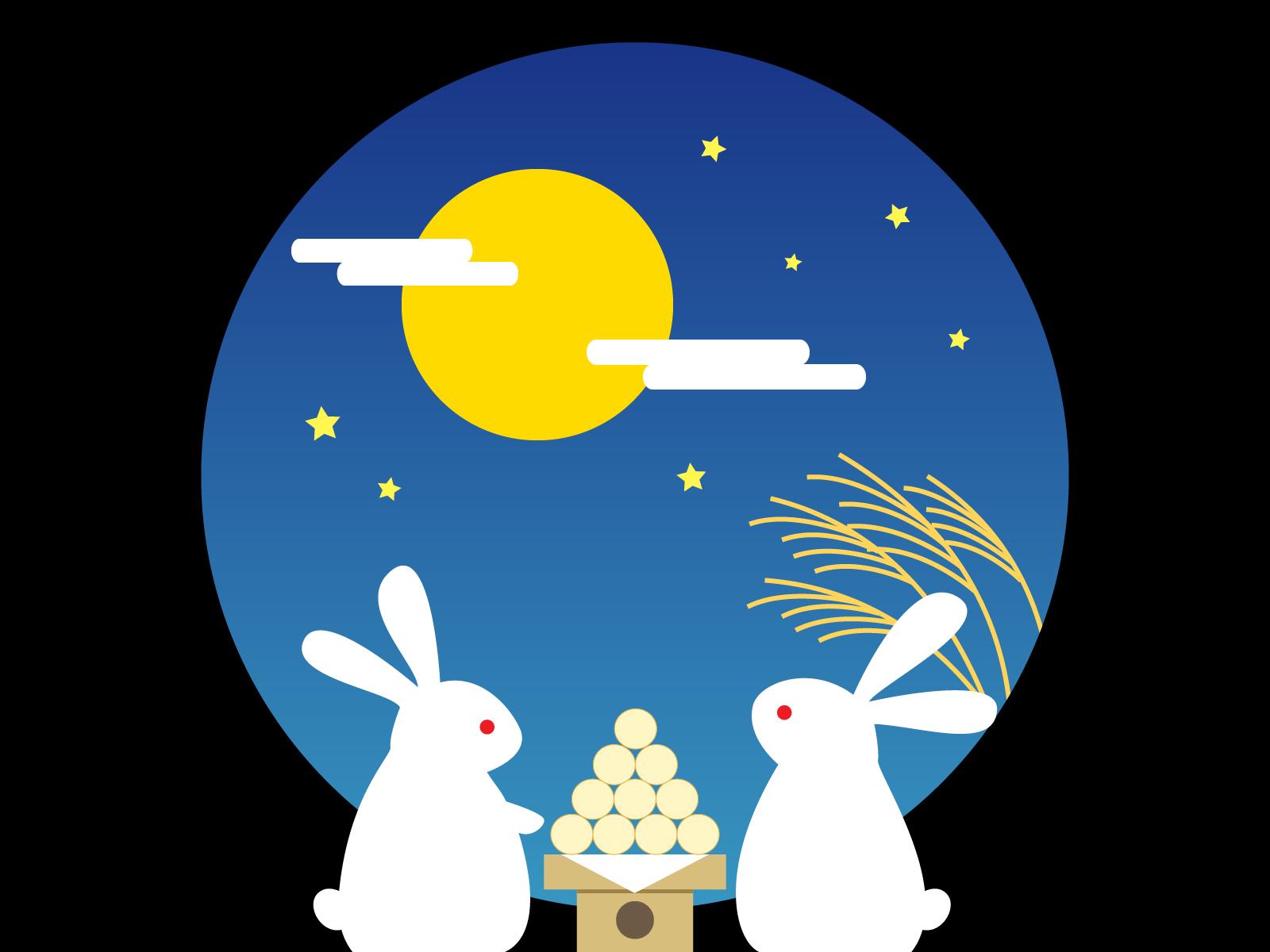 十五夜に中秋の名月を見ながらお月見をするうさぎ達