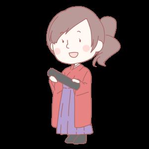 藤色の袴を履いた女学生の絵