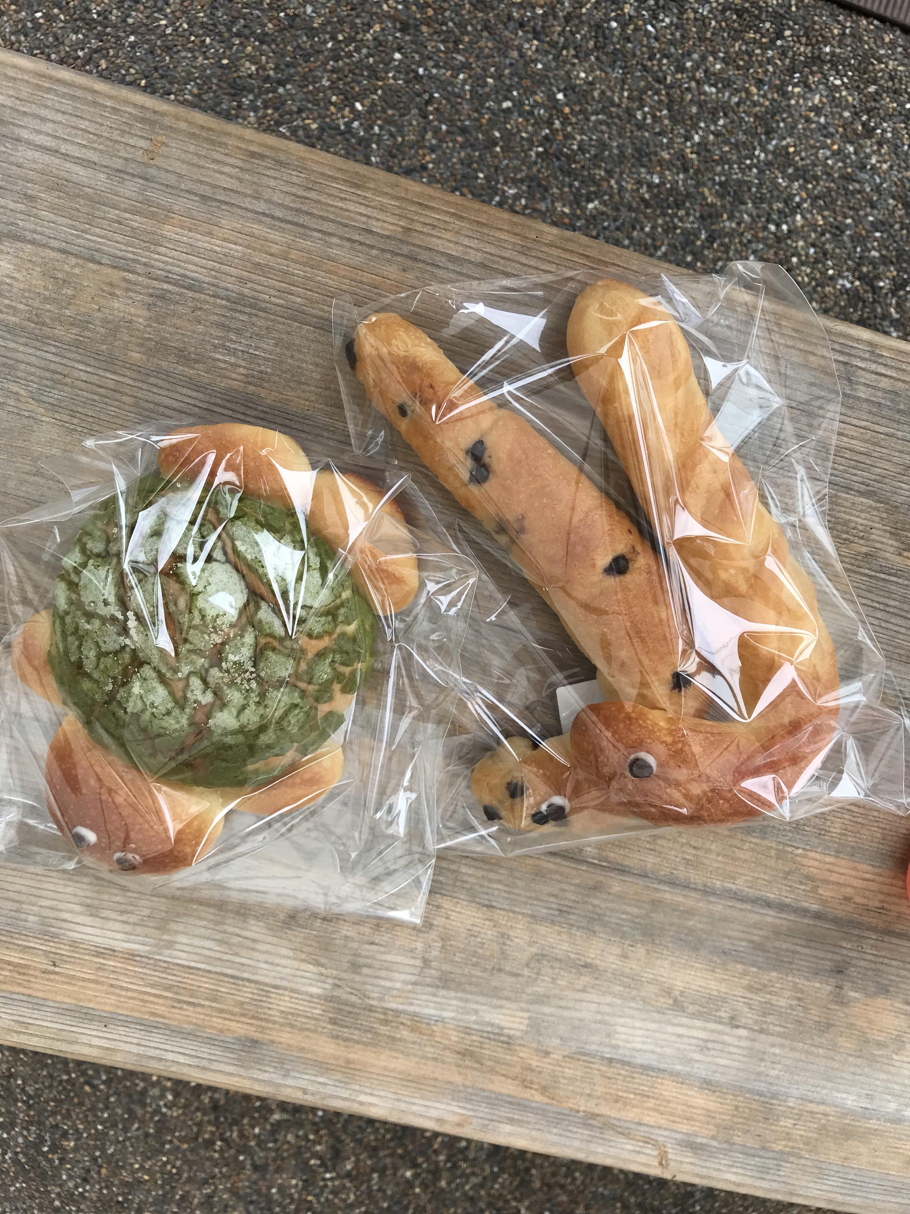 チンアナゴパンと、カメさんのメロンパンを購入。イルカショーの待ち時間に食す。