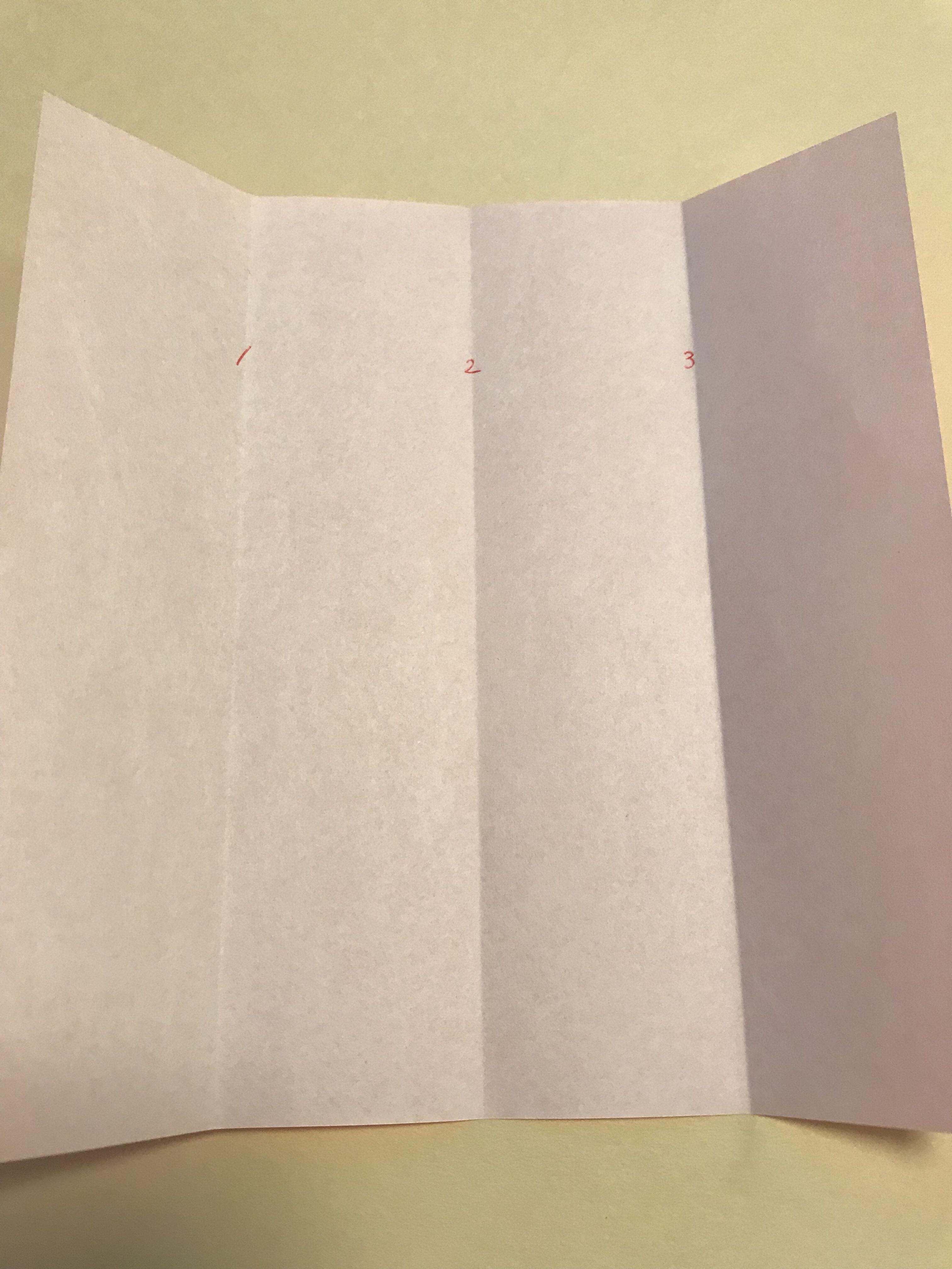 折り線のところに番号が振られている図。