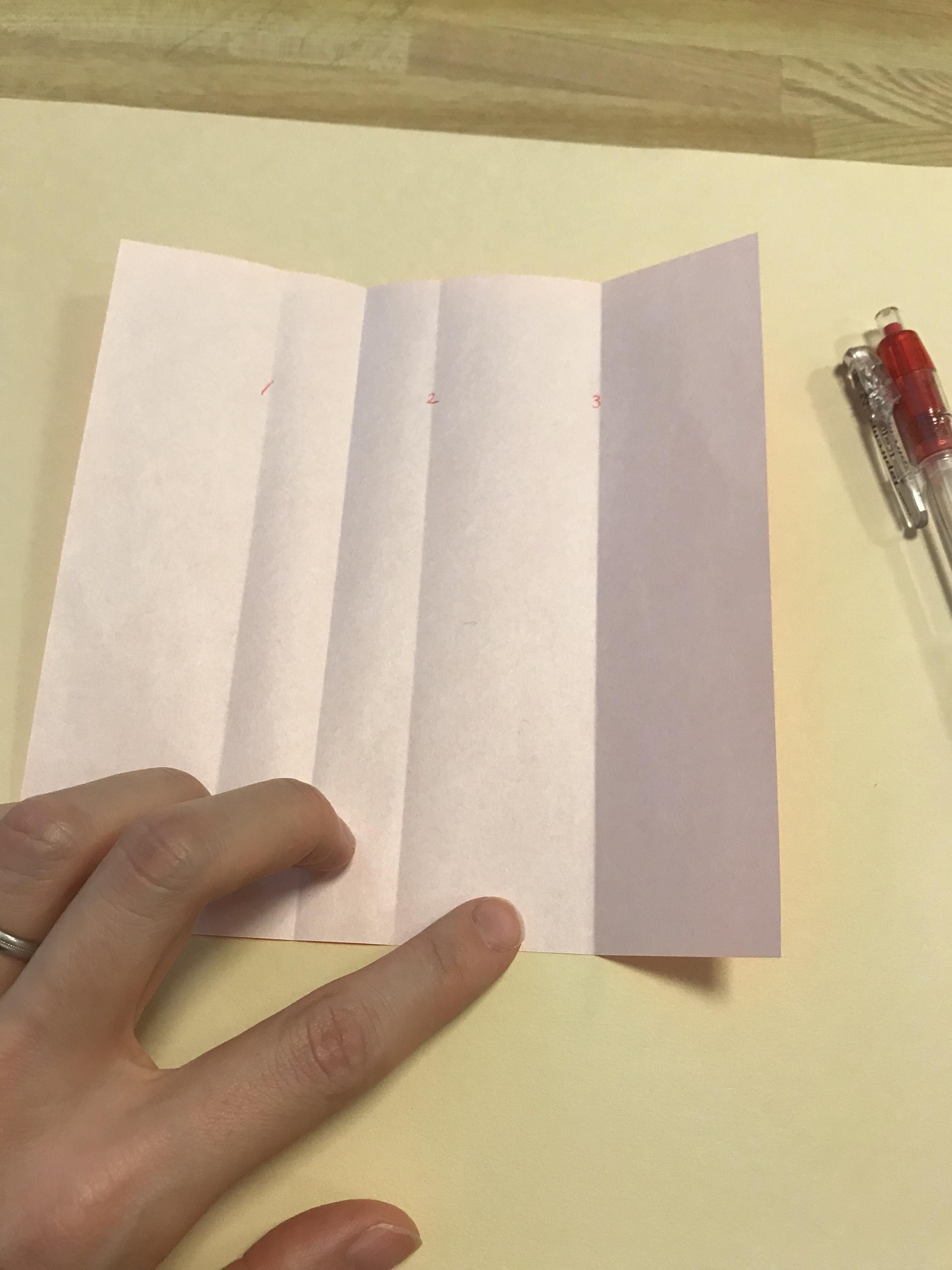 いったん折り紙を開いた図。