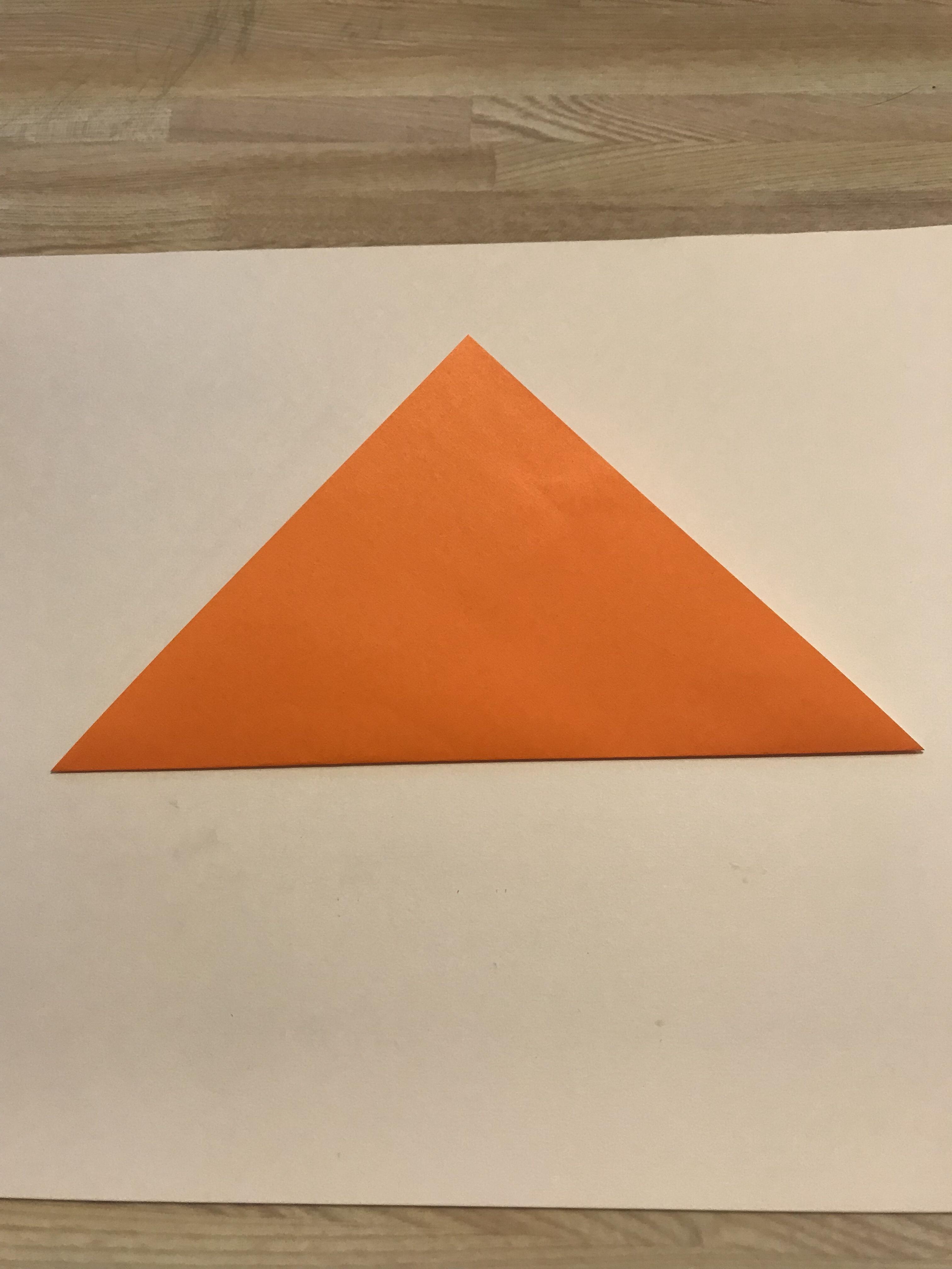 半分に折って三角形になった図